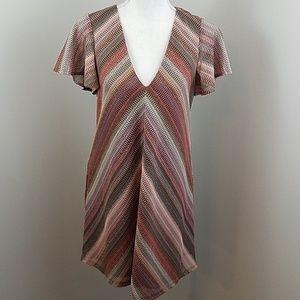 NWT! BCBG sz Sm Chevron dress w/lace up back